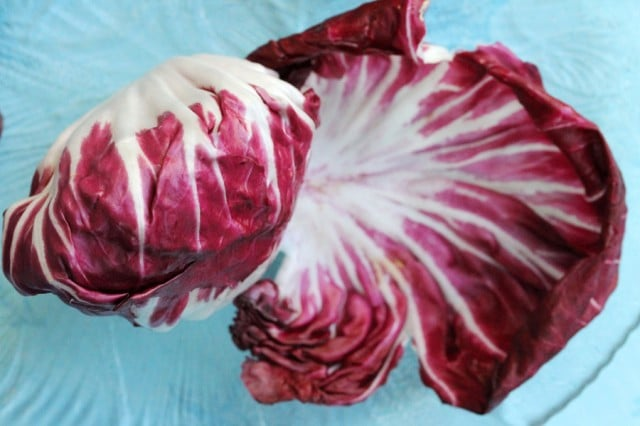 Radicchio Leaf on Plate