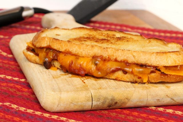 Grilled Cheese and Chili Sandwich on board