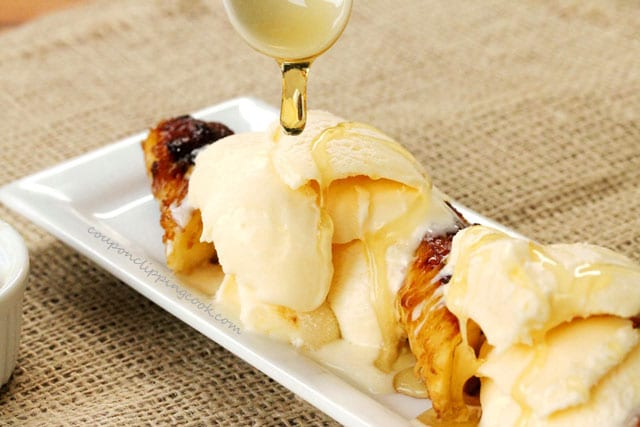 Add honey on ice cream and bananas