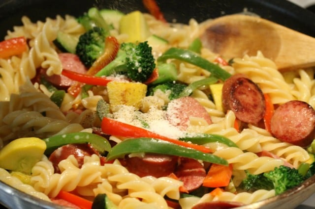 Pasta and Vegetables in Pan