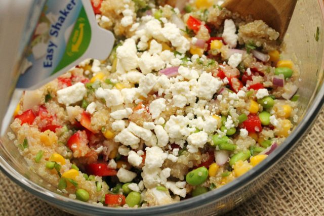 Add Feta Cheese in Quinoa Salad