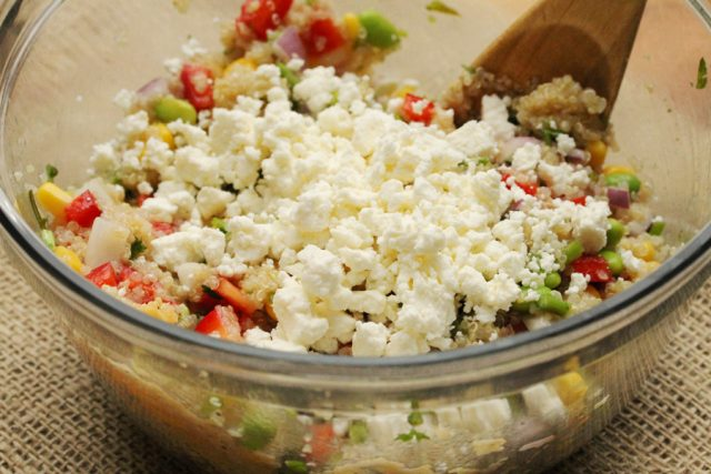 Feta and Quinoa Salad in Bowl