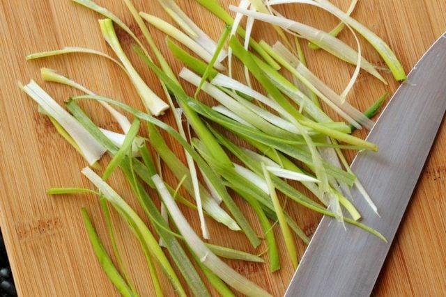Sliced Green Onion on board