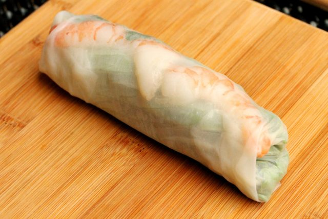 Fresh Spring Rolls with Shrimp on board