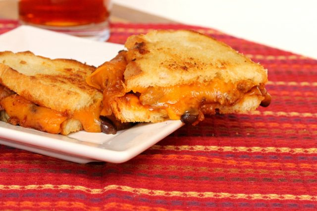 Grilled Cheese and Chili Sandwich on plate