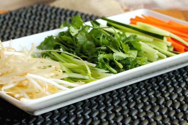 Spring Roll Ingredients on plate