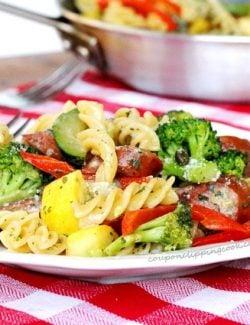 Pasta Vegetables Smoked Sausage Meal