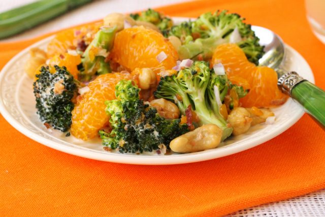 Broccoli Mandarin Orange Salad on plate