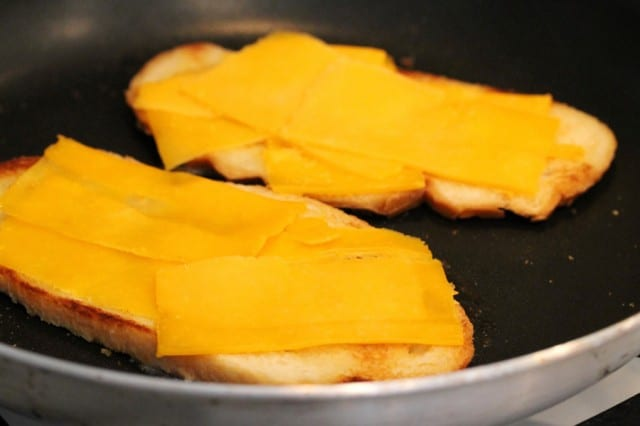 Cheese Slices on Toast in Pan