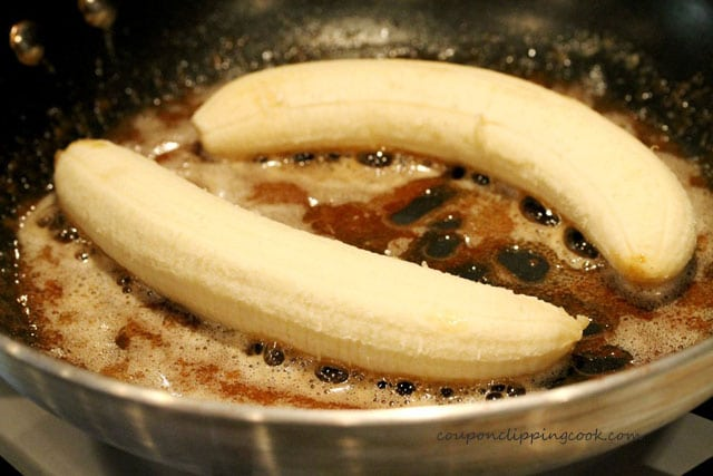 Bananas and browned butter in pan