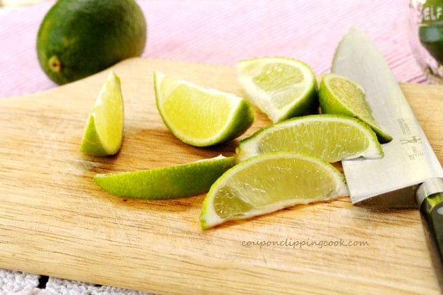 Cut limes on cutting board