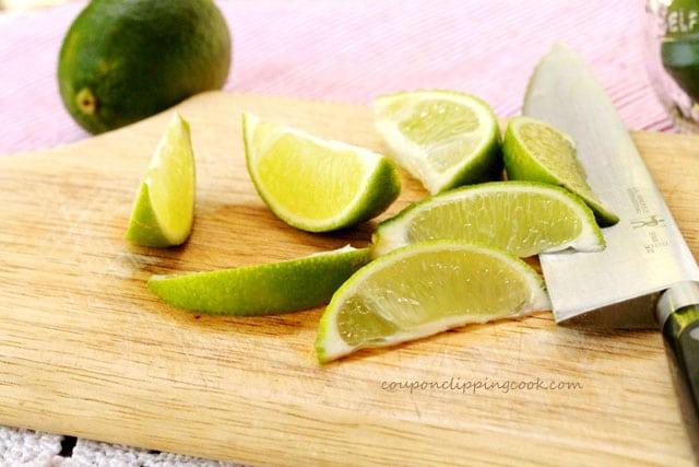 Cut limes on cutting board