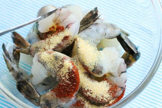 Add Garlic Powder on Shrimp