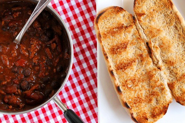 Chili in Pot and Hot Dog Bun