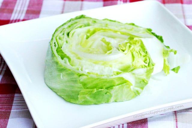 Sliced Iceberg Lettuce on Plate