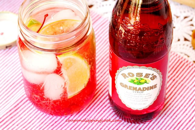 Shirley temple drink in mason jar with grenadine