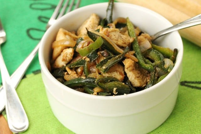 Chicken and Poblano Pepper in Bowl