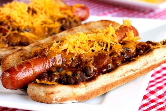 Shredded Cheese on Hot Dog