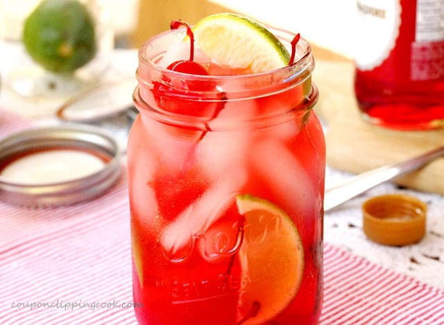 Shirley Temple Drink with Cherries and Lime