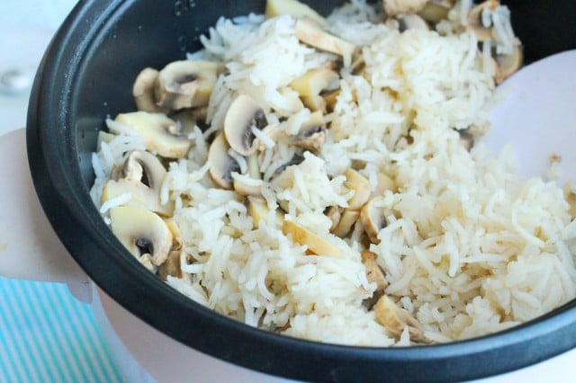 Mushrooms and Rice in Bowl