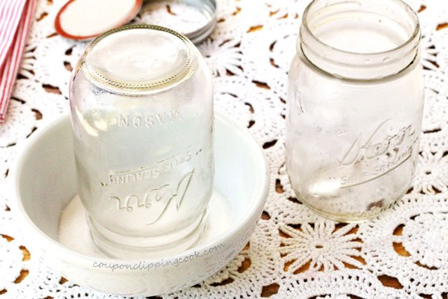 Mason jar upside down in sugar