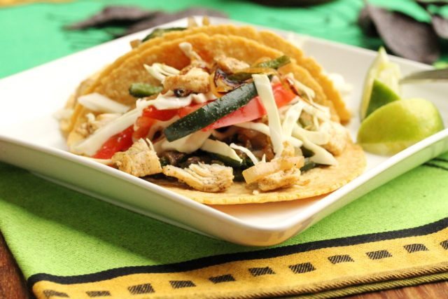 Poblano Pepper Chicken Tacos on plate