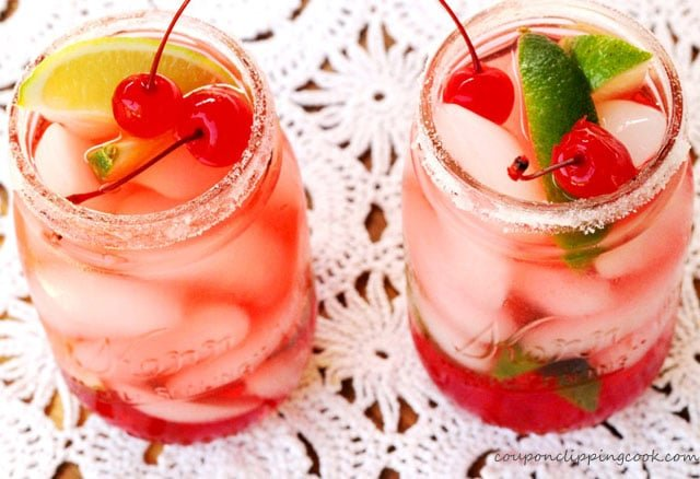 Shirley Temple Drink with Cherries in jar