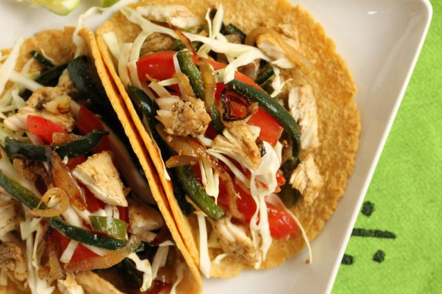 Poblano Peppers and Chicken Tacos on plate