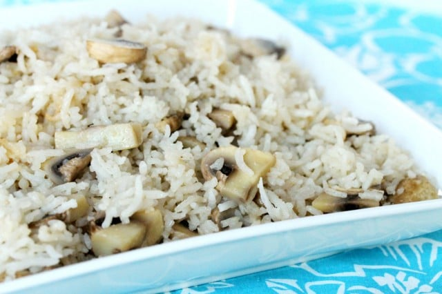 Rice and Mushrooms on Plate