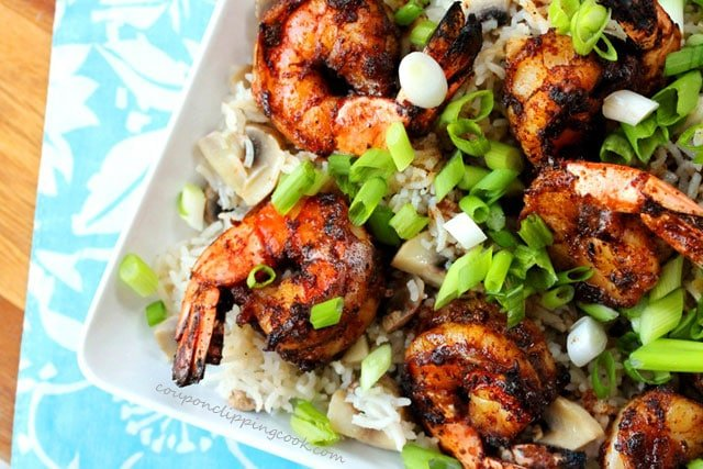 Browned Butter Shrimp with Rice on Plate