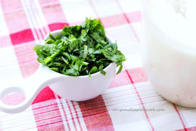 Chopped Cilantro in Cup