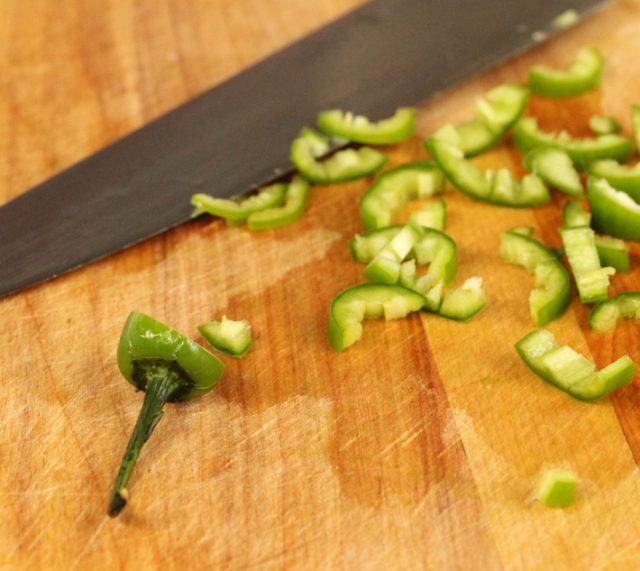 Cut Jalapeno Pepper on board