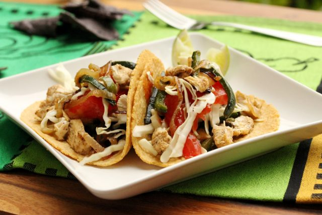 Chicken and Poblano Pepper Tacos on plate