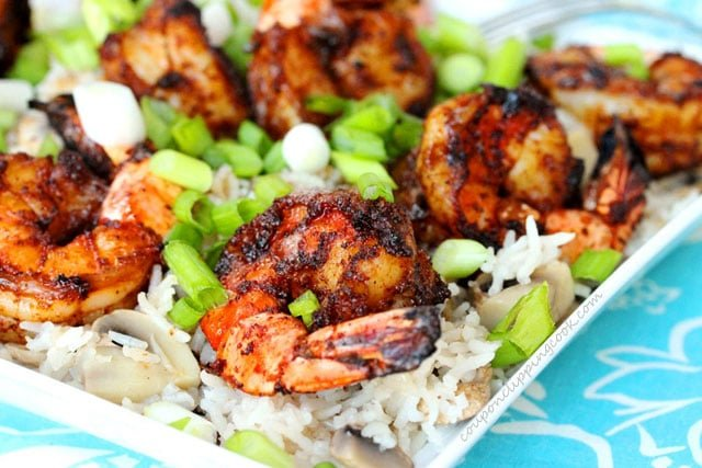 Grilled shrimp and rice on plate
