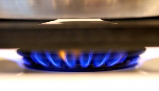 Burner under skillet on stove