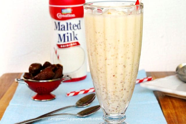Malted Milk Date Shake in glass