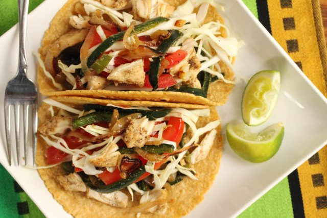 Poblano Pepper Chicken Tacos on plate with fork