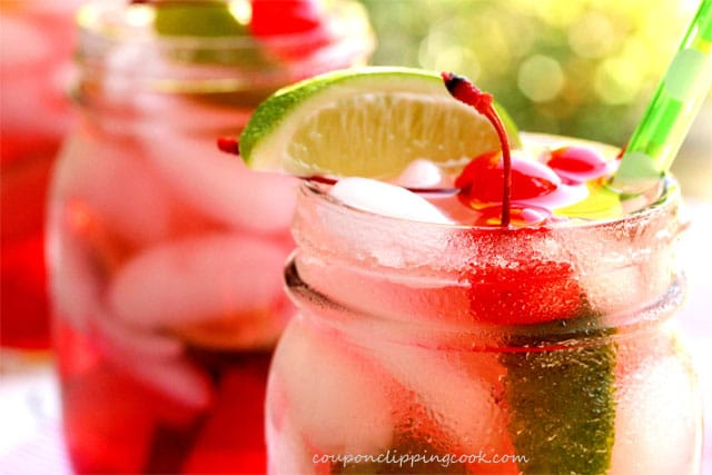 Cherry and Lime Shirley Temple Drink in Mason Jar