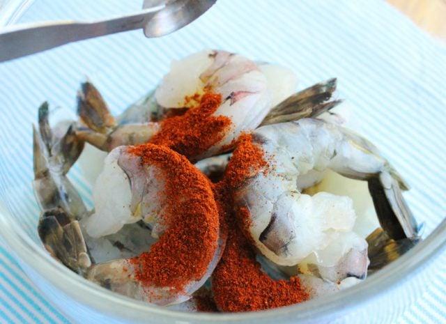 Chili Powder on Shrimp