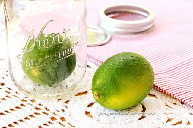 Whole limes on table
