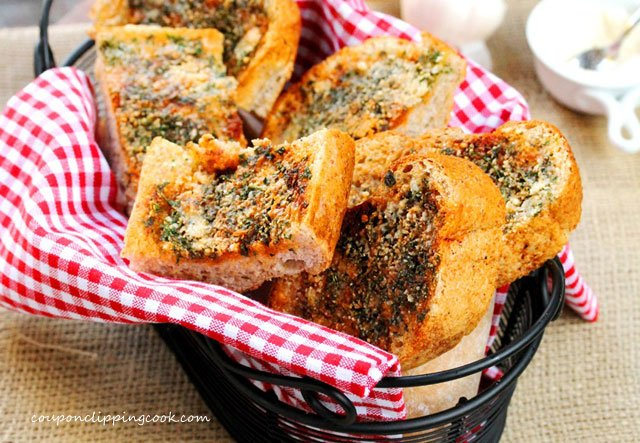Easy Homemade Garlic Bread in basket