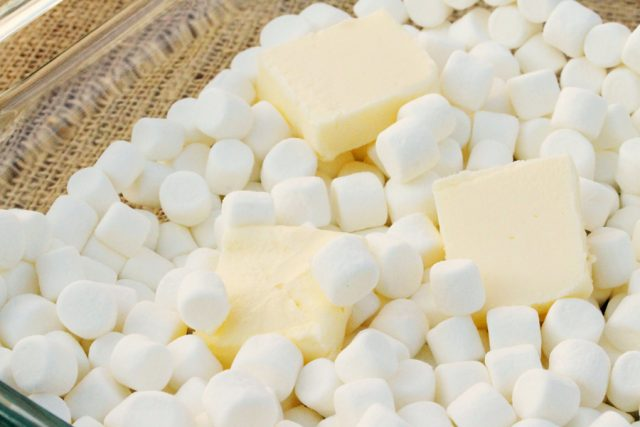 Butter and Marshmallows in dish