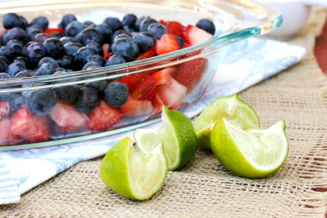 Lime Blueberries and Strawberries in dish