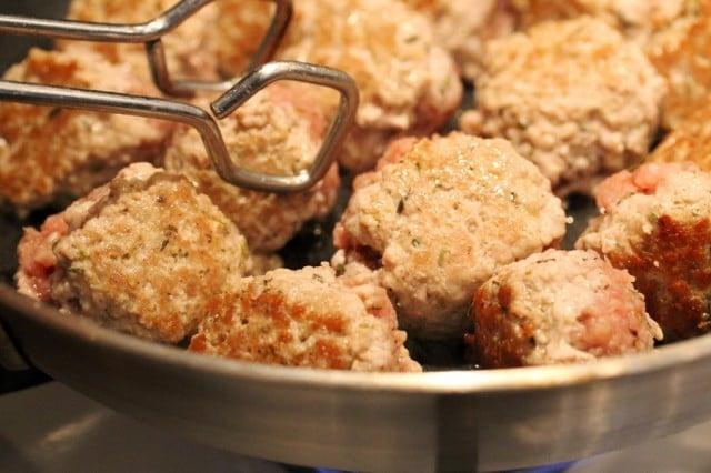 Brown Meatballs in Skillet