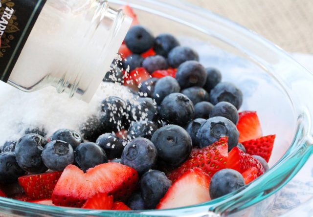 Add Salt on Berries in dish