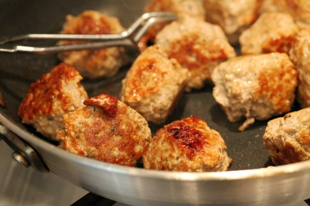 Cooked Meatballs in Pan