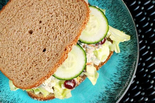 Chicken salad sandwich with sliced cucumbers