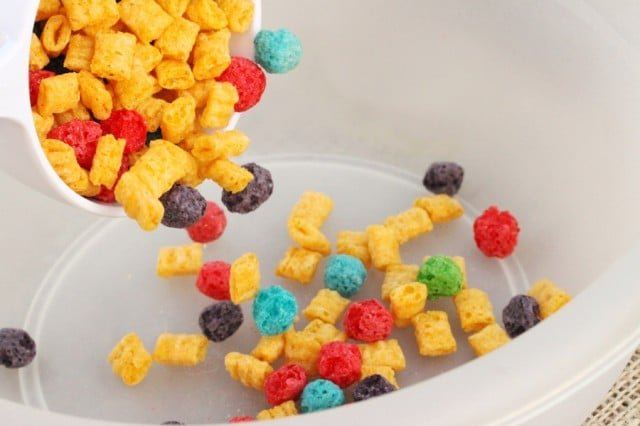 Pour Froot Loops in Bowl