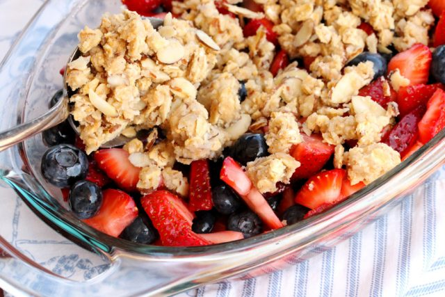 Add Nut Mixture on Berries in dish