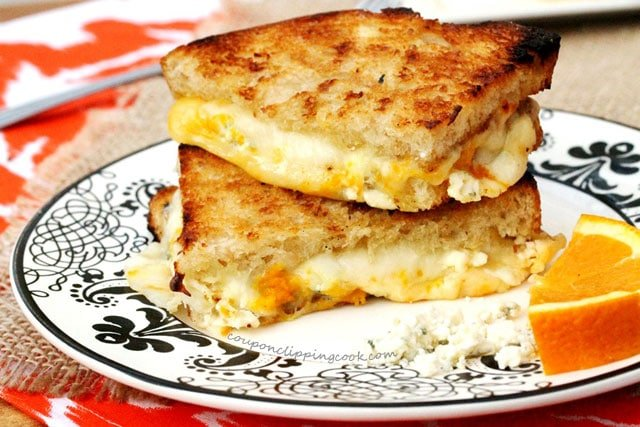 3-Cheese and Orange Zest Grilled Cheese Sandwich on plate